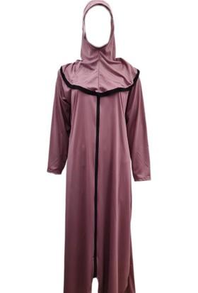 Hazal Namaz Elbisesi Eşarplı Fermuarlı Softjarse Gülkurusu