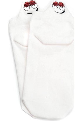 Markamindirim Susam Sokağı Nakışlı Kısa Beyaz Çorap