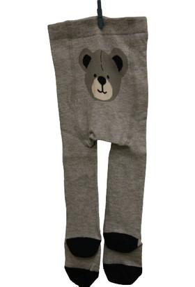 Calza Bella Gri Ayıcık Desenli Külotlu Çorap