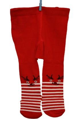 Calza Bella Çocuk Külotlu Çorap - Kırmızı Geyik Desenli
