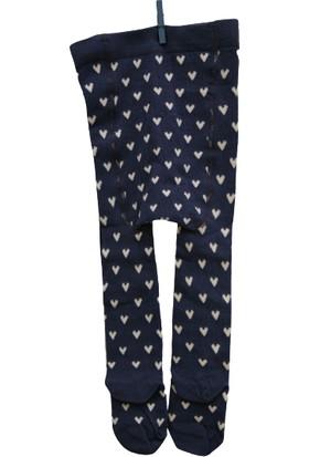 Calza Bella Çocuk Külotlu Çorap - Mavi Kalpli