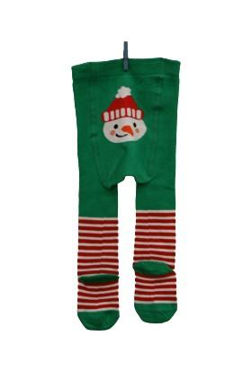 Calza Bella Çocuk Külotlu Çorap - Yeşil Kardan Adam Desenli