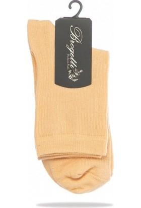 Cropt Bej Renk Düz Soket Çorap