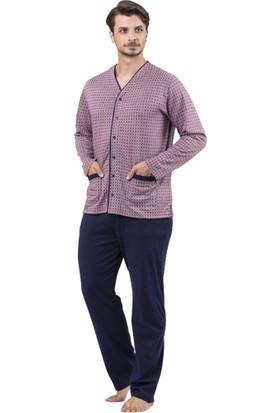 Çift Kaplan 8709 Cepli Önden Açık Erkek Pijama Takım