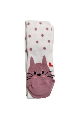 Suna Kız Çocuk Renkli Kedi Desenli Külotlu Çorap SN001