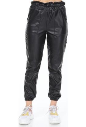 İncebelli Collection Rapapa Kadın Suni Deri Pantolon Siyah 1957