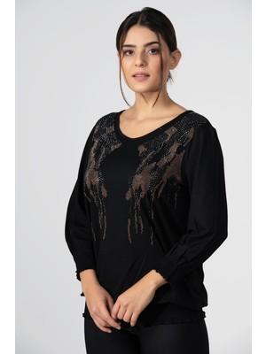 Hepisize Siyah Önü Taş Detaylı Uzun Kollu Tunik