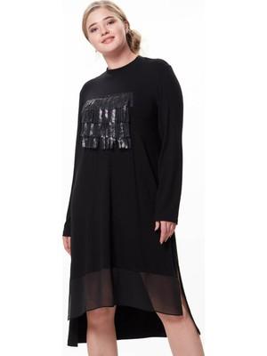 Zerotantik Önü Püsküllü Şifon Detay Büyük Bedentunik Elbise Siyah