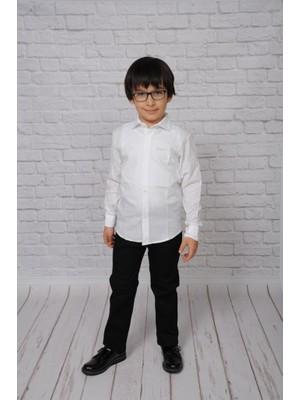 Sedacan Kostüm Erkek Çocuk Yazlık Keten Uzun Kol Gömlek