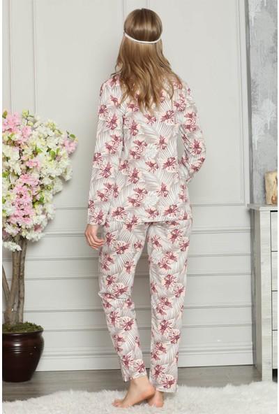 Akbeniz Kadın %100 Pamuk Önden Düğmeli Uzun Kol Pijama Takım 2726
