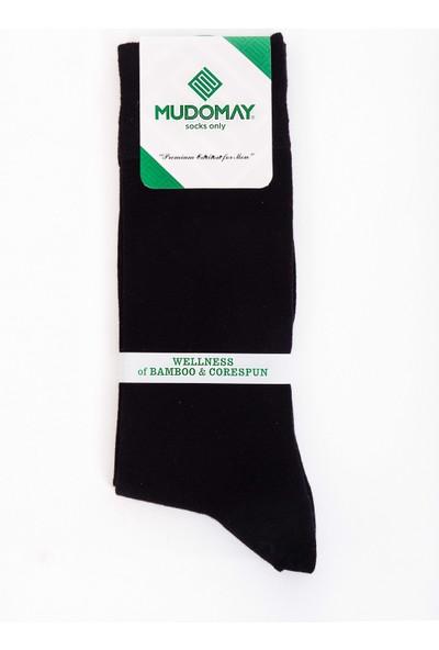 Mudomay 6'lı Dikişsiz Bambu Corespun Mevsimlik Siyah Erkek Çorap