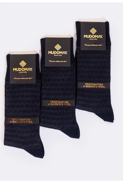 Mudomay 6'lı Dikişsiz Bambu Yün Kışlık Lacivert Erkek Çorap