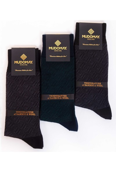 Mudomay 6'lı Dikişsiz Bambu Yün Kışlık Erkek Çorap