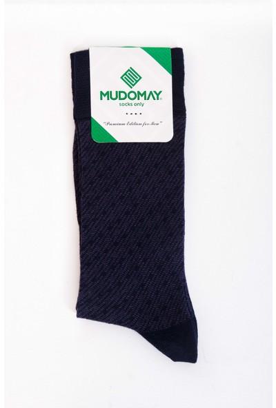 Mudomay 6'lı Dikişsiz Bambu Corespun Mevsimlik Lacivert Erkek Çorap