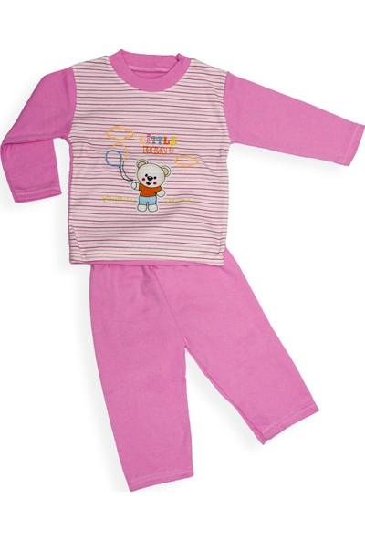 Levent Bebe Kız Çocuk Ayıcık Nakışlı Pijama Takımı