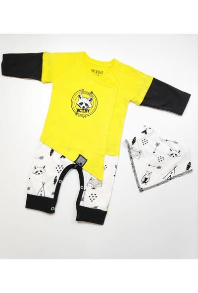 Victory Raccoon Fularlı Kravuze Bebek Tulum Sarı