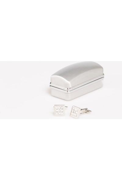 1001 Kravat Şeffaf Taşlı Metal Kol Düğmesi