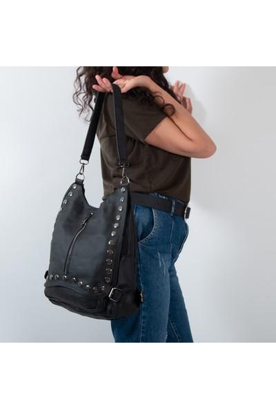 Hakkan Çanta Yıkama Deri Kadın Sırt Çanta Kadın Çapraz ve Omuz Çanta 743-1 Siyah
