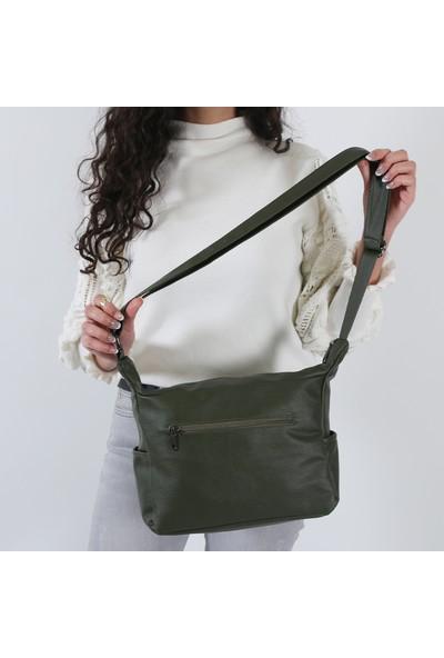 Mega 100 Yıkama Deri Kadın Omuz Çanta Yeşil