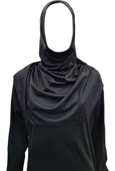 Hazal Eşarplı Bütün Namaz Elbisesi Tek Parça Siyah Softjarse Kumaş