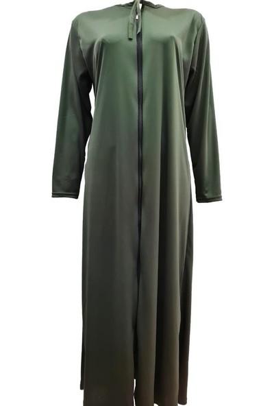 Hazal Namaz Elbisesi Fermuarlı Model Yeşil Softjarse Kumaş