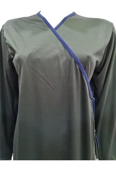 Hazal Namaz Elbisesi Koyu Yeşil Softjarse Kumaş Bağlamalı Model