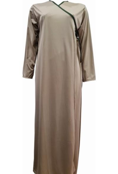 Hazal Namaz Elbisesi Vizon Softjarse Kumaş Bağlamalı Model