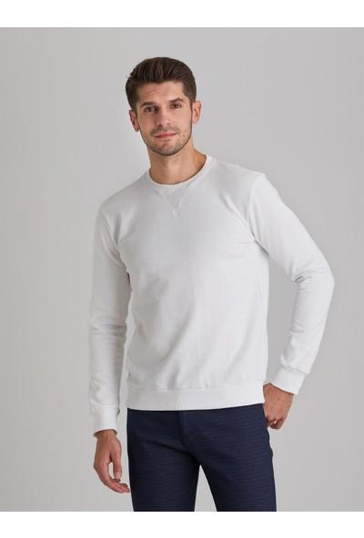 Dufy Beyaz Düz Erkek Sweatshirt Modern Fit