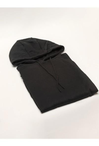 Dufy Siyah Kapüşonlu Kanguru Cepli Erkek Sweatshirt Modern Fit