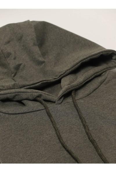 Dufy Haki Kapüşonlu Kanguru Cepli Erkek Sweatshirt Modern Fit