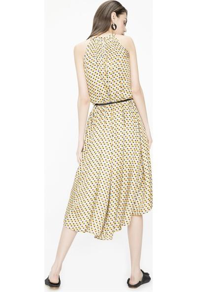 Jly Petek Desen Elbise Sarı 40