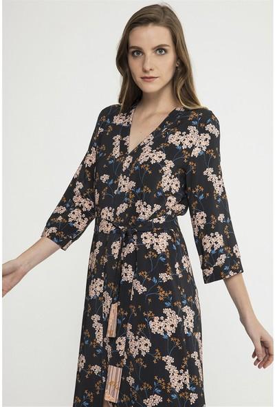 Jly Çiçek Desen Elbise Açık Mavi 34