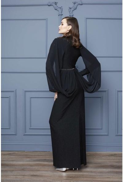 Esswaap Siyah - Kolu ve Önü Taşlı Küp Formlu Abiye Elbise 40
