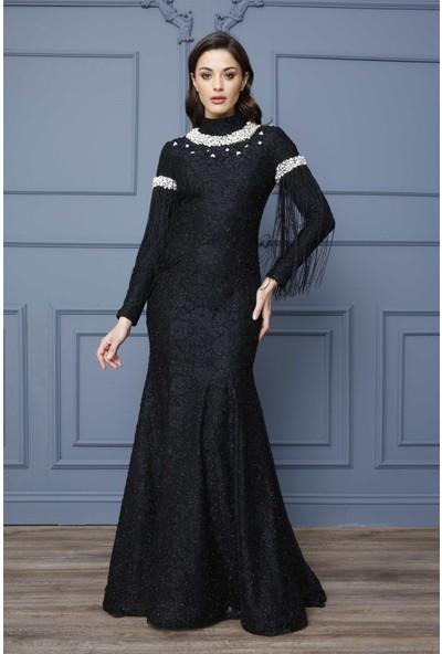 Esswaap Siyah - Yakası Taşlı Kolu Püsküllü Abiye Elbise 42