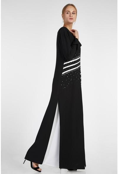Esswaap Siyah - 2'li Içi Elbiseli Ceketi Taşlı Şeritli Abiye Takım 40