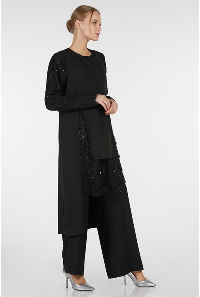 Esswaap Siyah - 2'li Kolu Dantelli Pantolonlu Abiye Takım 40
