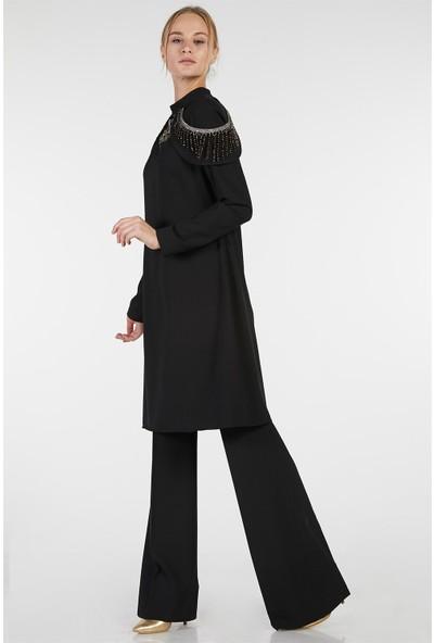 Esswaap Siyah - 2'li Tuniğin Yakası Boncuklu Pantolonlu Abiye Takım 38