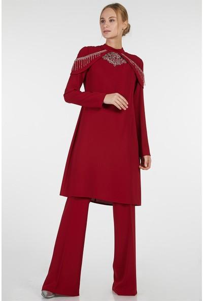 Esswaap Kırmızı - 2'li Tuniğin Yakası Boncuklu Pantolonlu Abiye Takım 38