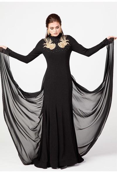 Esswaap Siyah - Aplike Detaylı Balık Model Abiye Elbise 38