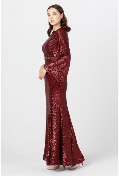 Esswaap Bordo - Beli Taşlı Pul Payetli Abiye Elbise 42