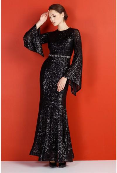 Esswaap Siyah - Beli Taşlı Pul Payetli Abiye Elbise 42
