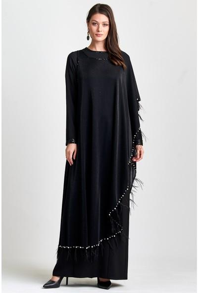 Esswaap Siyah Inci ve Püskül Detaylı Elbise 48