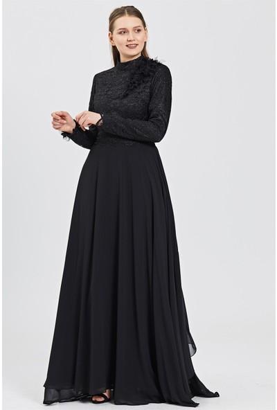 Esswaap Siyah Üst Beden Dantel, Çiçek ve Yaprak Aksesuarlı Şifon Etekli Abiye Elbise 42