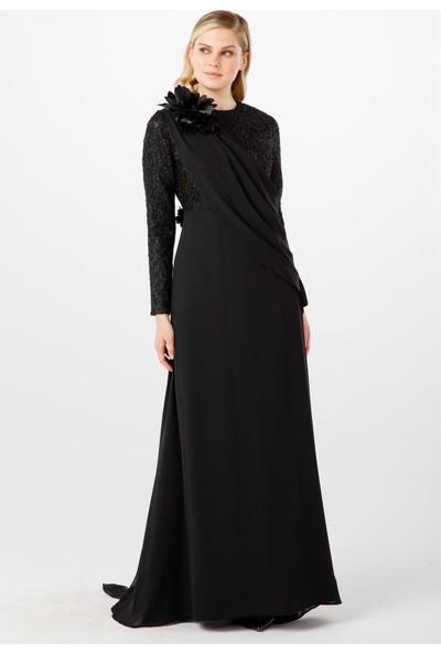 Esswaap Siyah Dantel Üzeri, Dağınık Pililerden Oluşan Şifon Abiye Elbise 38