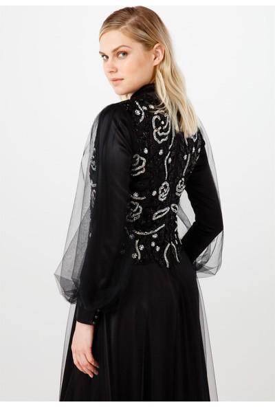 Esswaap Siyah Tül Üzeri Çiçek Taş Desenli Kolları Büzgülü Abiye Elbise 38