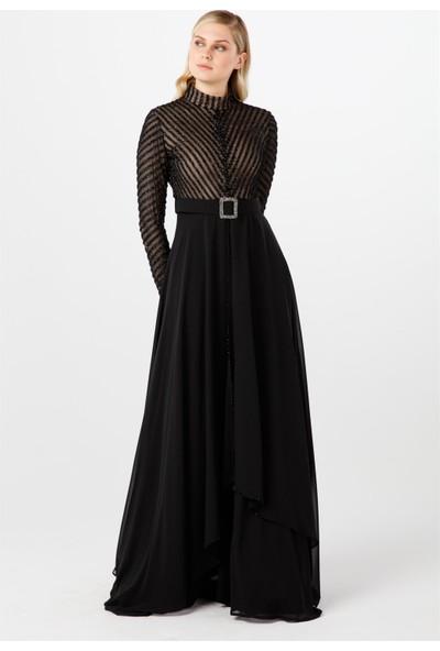 Esswaap Siyah Kristal Taş Detaylı, Kemerli, Tülden Oluşan ve Çizgili Abiye Elbise 40