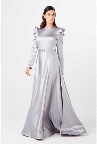 Esswaap Gri Mevlana Prenses Kol Abiye Elbise 38