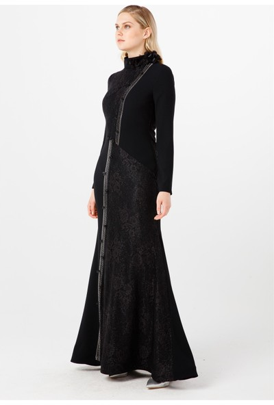Esswaap Siyah Asimetrik Taş Dizili, Omuzunda Çiçek Aksesuarlı Dantel Abiye Elbise 38
