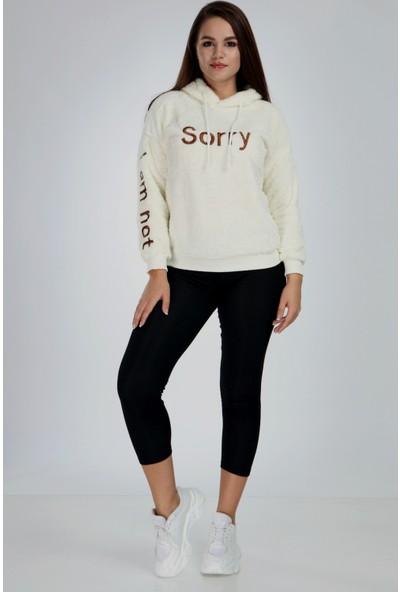 1moda1tarz Kadın Peluş Nakışlı Kapüşonlu Sweatshirt