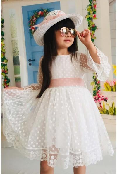 MNK Krem Şapkalı Dantelli Kız Çocuk Elbise